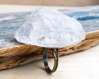 Crystal ROCK Ring White Quartz Large Rock RING ICE Rock