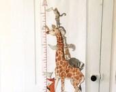 Growth chart, nursery decor, woodland animals, kids art
