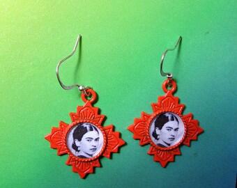 Frida kahlo Colorful earrings Unique Design mexicana altered art dia de los muertos Fiesta Mexican popular items