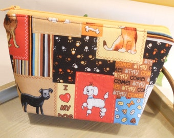 "SPECIAL of the DAY - Large Flat Bottom--Padded Zipper Pouch in ""I Love My Dog"""