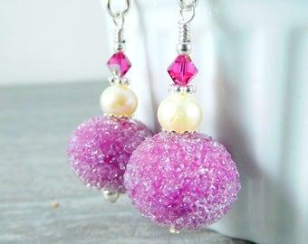 Fuchsia Sugar Glass Dangle Earrings, Dark Pink Snowball Earrings, Spring Easter Jewelry, Lampwork Earrings, White Pearl Earrings, Feminine