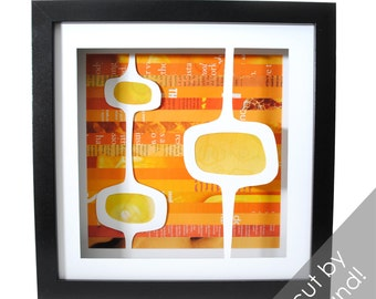 MOD shadowbox- made from recycled magazines, modern home decor, bubbles, orange and yellow, interior design, hand cut, unique, gift idea