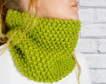 Apple Green Merino Wool Handknitted Cowl, womens scarf, snood, neckwarmer READY TO SHIP