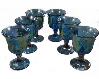 Vintage Indiana Harvest Grape Blue Carnival Glass Goblets. Set of Six