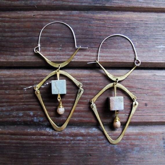 Connections Hoops - Jasper and Silverite Stone Earrings - Brass Lightweight Hoop Earrings - Hoops