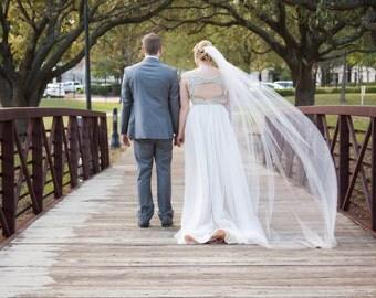 Wedding Veil Chapel Length Single Tier  CUT Edge Extra Fullness, Bridal Veil CE90X108
