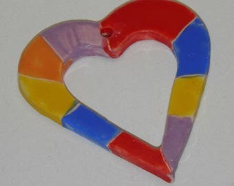"Handmade Ceramic Tile Hearts 8cm (3"") Rainbow Color Ornament"