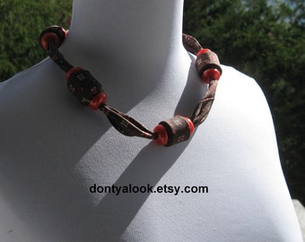 Chocolate Cherry Upcycled Silk Tie Necklace #18