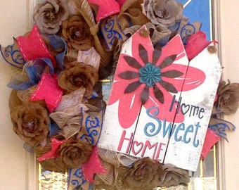 """Burlap Wreath with Wood """"Home Sweet Home"""" Sign, Burlap Roses Wreath,Fun Wood Sign With Burlap Roses in Blues Pink and White,Shabby Chic"""