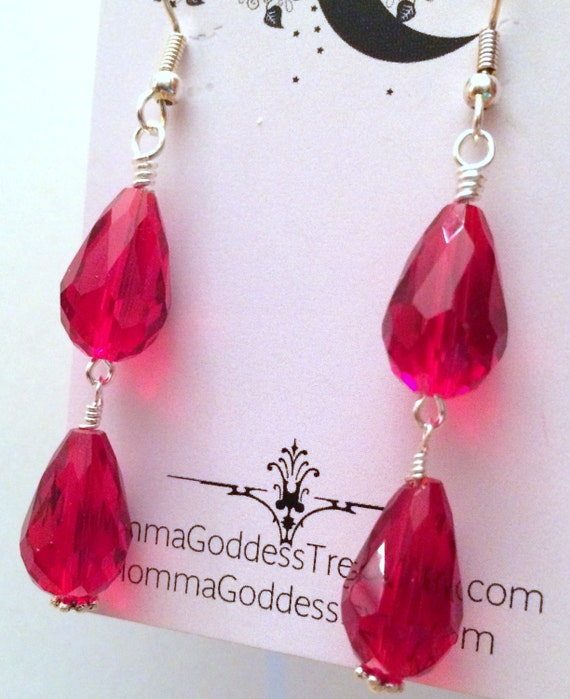 Women, Earrings, Holiday Red Crystal Dangle Earrings