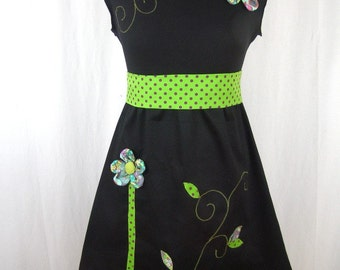 Chihiro dress black and green apple and flower