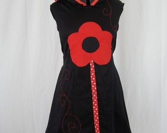 Kyriu flower red and black trapeze dress
