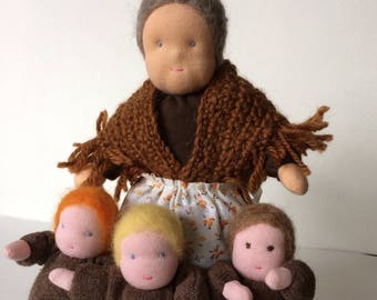 Mother Earth and Root Children. Waldorf Nature table figures.