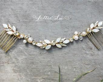 Gold Opal Hair Vine Wreath, Gold Wedding Hair Piece, Hair Vine Wreath, Boho Wedding Hair Comb, Opal Marquise Wedding Comb - 'HARMONY'
