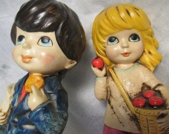 Pair Vintage LITTLE ONES Girl with Apples and Boy Figurines Japan mid century Retro figures 1970 and or 1960