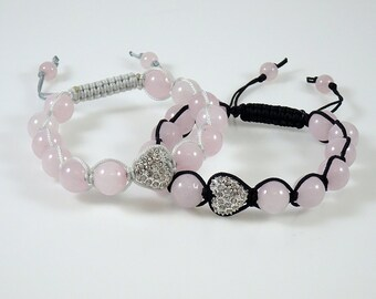 Rose Quartz & Heart Pave Crystal Shamballa Bracelet