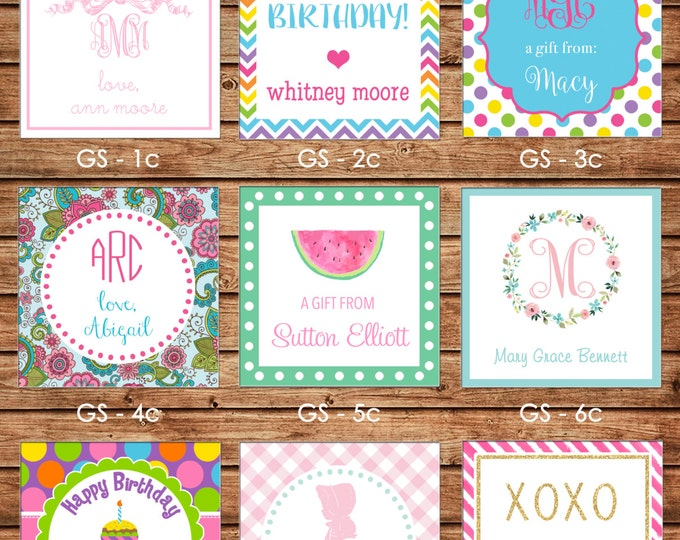 2017 DESIGNS! 24 Square Personalized Girl Enclosure Cards or Gift Stickers - Choose One Design