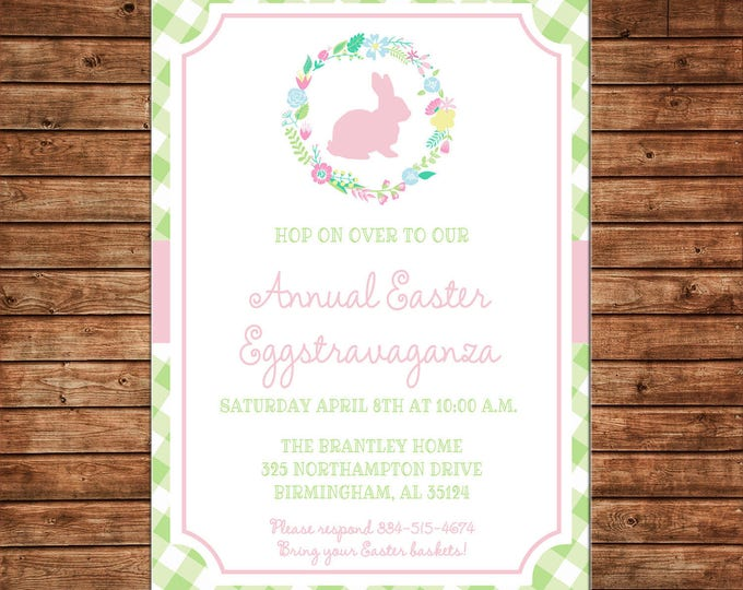 Gingham Bunny Easter Rabbit Baby Shower Egg Hunt Floral Wreath Invitation - DIGITAL FILE