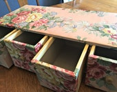 Reserved for Kristen! Floral drawers, rare, shabby storage drawers, studio storage vintage roses storage Stor-Aid drawers, shabby drawers