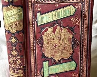 Antique book, Thomas Campbell Samuel Coleridge, Campbell poetry, Coleridge poetry, illustrated book, 1800's book, decorative book