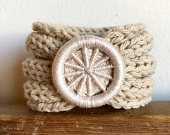Knitted Bracelet with Handmade Dorset Button