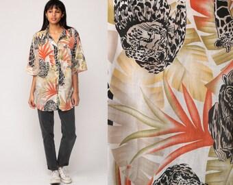 Safari Shirt Jungle Animal LEOPARD Print Giraffe Tropical 80s Grunge Top Africa Print Blouse Button Up Shirt 1980s Extra Large xl