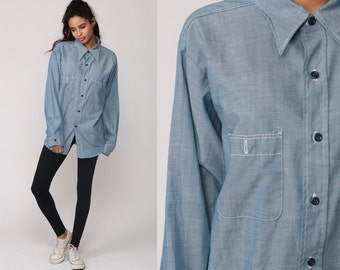 Oxford Shirt Chambray Shirt 70s Blue Button Up Topstitching Cotton 1970s Long Sleeve Vintage Hipster Boho Extra large xl