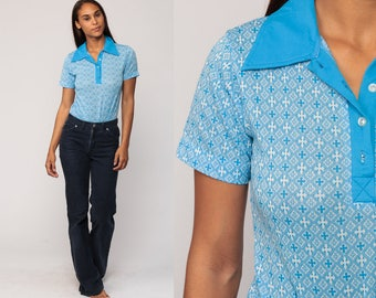 70s Bodysuit Blue Blouse GEOMETRIC Shirt Leotard Shirt 1970s Hippie Top Bohemian Vintage Button Up Polo Short Sleeve Large