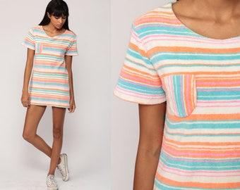 Terry Cloth Dress Striped MICRO Mini Mod 70s Gogo Vintage Shift Twiggy Minidress 1970s Terrycloth Short Sleeve Orange Blue White Go Go Small