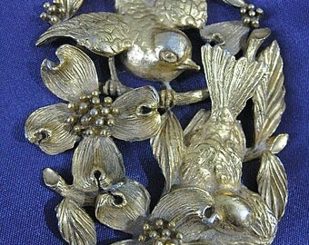 As Is Birds and Dogwood Blossoms Broken VTG Brooch No Clasp Rough Back High Quality Salvage Has Look of Hobe But only reads 274  on back