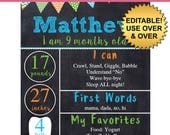 DIY editable printable Baby monthly milestone Boys chalkboard poster Instant download sign Digital File 8x10 or 16x20