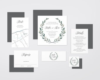 The 'Laurel' Romantic Garden Wreath Wedding Invitation Suite (Printable PDFs)