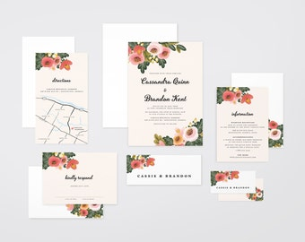 The 'Summer' Watercolour Wildflower Wedding Invitation Suite (Printable PDFs)
