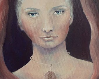 Original Mixed Media Fantasy Soulful Story Girl Cloak Painting Sujati Art Studio