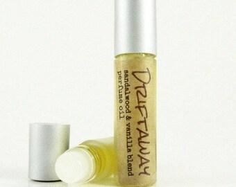 DRIFTAWAY  Roll on Perfume Oil / Vanilla Sandalwood Fragrance Oil / Glass Roll on Bottle unisex