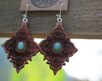 Red Cedar & Turquoise Earrings- Sustainable Wood Jewelry- Wood Earrings- Natural Wood Jewelry- Eco Earrings