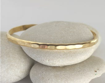 Wide Gold Cuff, yellow gold fill hammered stacking cuff, Hammered Bangle