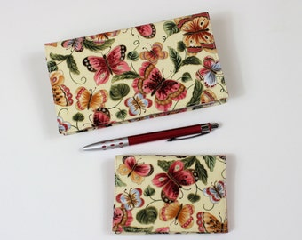Butterflies Checkbook Cover for Duplicate Checks with Pen Holder and Card Case, Peach Butterfly
