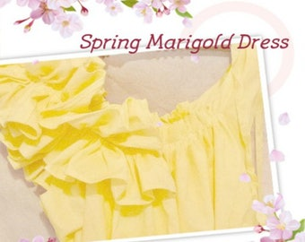 Marigold Maternity Dress Ruffle Baby Shower Buttercup, Yellow, Sunflower Knee Length Custom Patisserie Womens