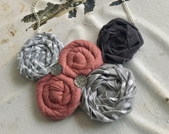 Grey, Pink, & White Fabric Flower Statement Necklace, Bib Necklace, Rolled Rosette Statement Necklace