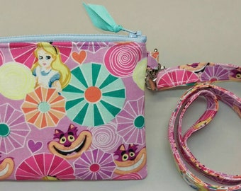 Alice in Wonderland lanyard and zippered coin/card pouch, handmade