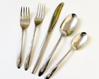 Vintage 1960s International Steel Elegance Spare 46 Pc Stainless Flatware Set / Service for 6 Plus Extras / Wheat Pattern, Retro Dining