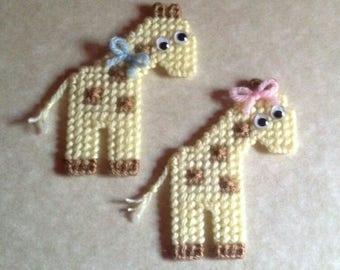 2 Handmade Giraffe Magnets Plastic Canvas