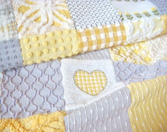 SUNNY HEART ~ Handmade Vintage Cotton Chenille Patchwork Quilt, 45 x 51 Inches ~ Ready To Ship ~ SALE