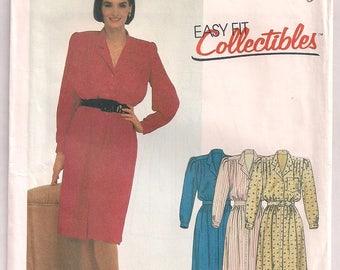 1985 Dress Pattern McCalls 2165 Pullover Dress Shoulder Pads Long Sleeves V Neckline Front Bodice Buttons Size 20 Bust 42 Uncut