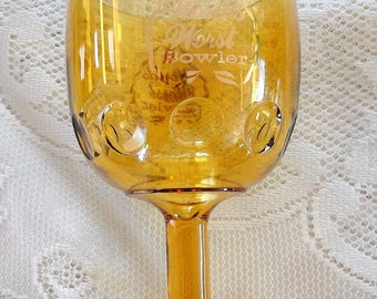 "70s Amber Yellow clear pressed glass footed wine glass ""Worlds worse bowler"""