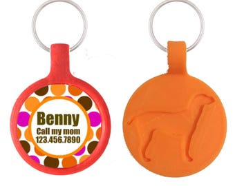 Modern Dots Personalized Dog ID Pet Tag Custom Pet Tag You Choose Tag Size & Colors