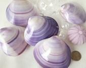 Beach Decor Seashells, Nautical Decor Shells, Purple Clam Shells, Purple Shells, Polished Clam Shells, Purple Seashell, Lavender Shell, PAIR