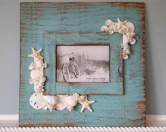Beach Decor Seashell Frame, Nautical Decor Shell Frame, Distressed Aqua Shell Frame, Coastal Decor Wall Frame, Beach House Decor, Turquoise