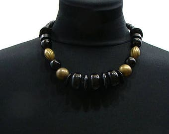 Vintage Black Chunky Necklace Vintage Beaded Necklaces Vintage Chunky Bead Necklace Chunky Black Necklace Black and Gold Chunky Necklace